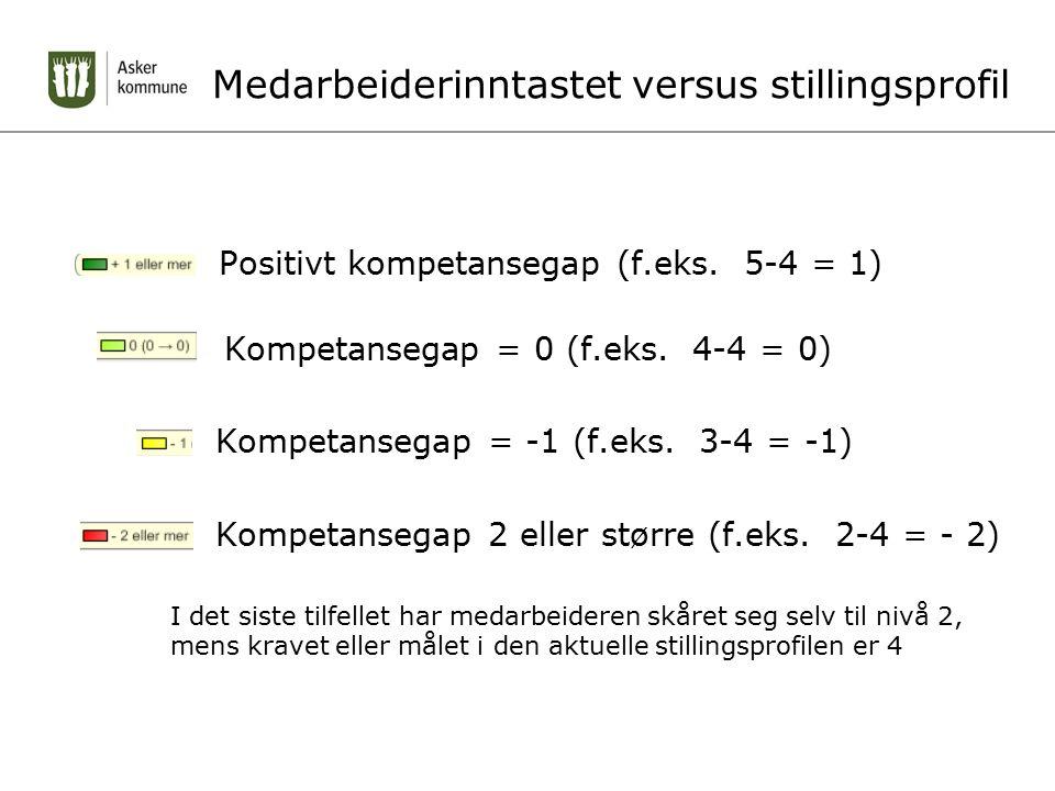 Medarbeiderinntastet versus stillingsprofil Positivt kompetansegap (f.eks.