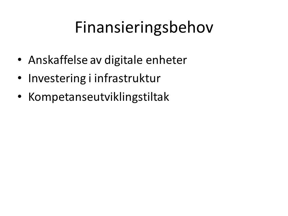 Finansieringsbehov Anskaffelse av digitale enheter Investering i infrastruktur Kompetanseutviklingstiltak