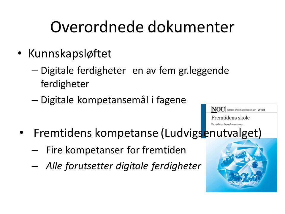 Overordnede dokumenter Kunnskapsløftet – Digitale ferdigheter en av fem gr.leggende ferdigheter – Digitale kompetansemål i fagene Fremtidens kompetanse (Ludvigsenutvalget) – Fire kompetanser for fremtiden – Alle forutsetter digitale ferdigheter