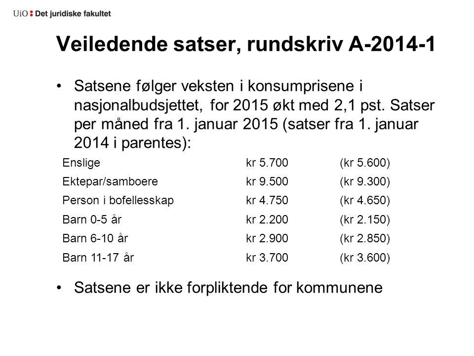 Veiledende satser, rundskriv A-2014-1 Satsene følger veksten i konsumprisene i nasjonalbudsjettet, for 2015 økt med 2,1 pst.
