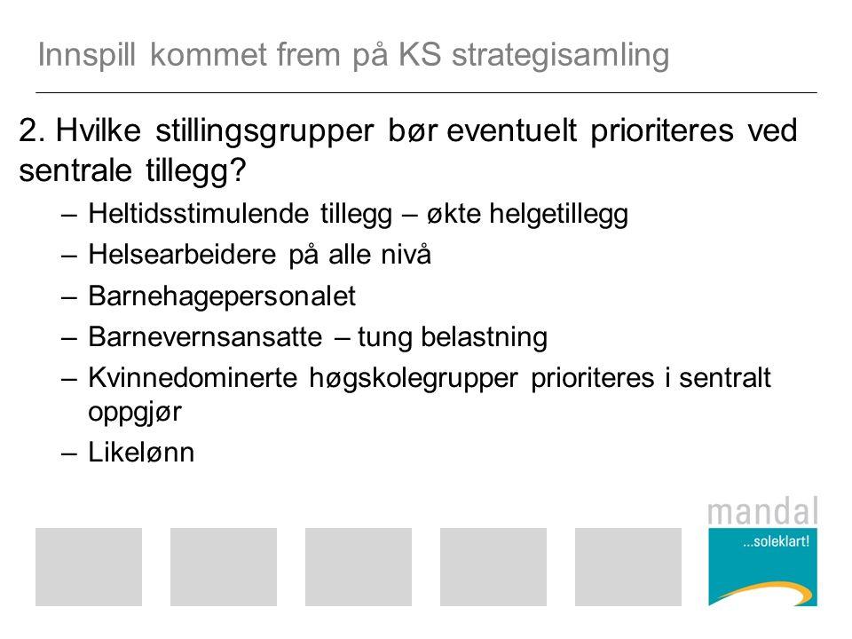 Innspill kommet frem på KS strategisamling 2.