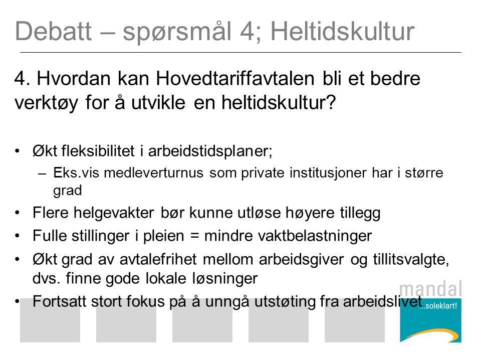 Debatt – spørsmål 4; Heltidskultur 4.