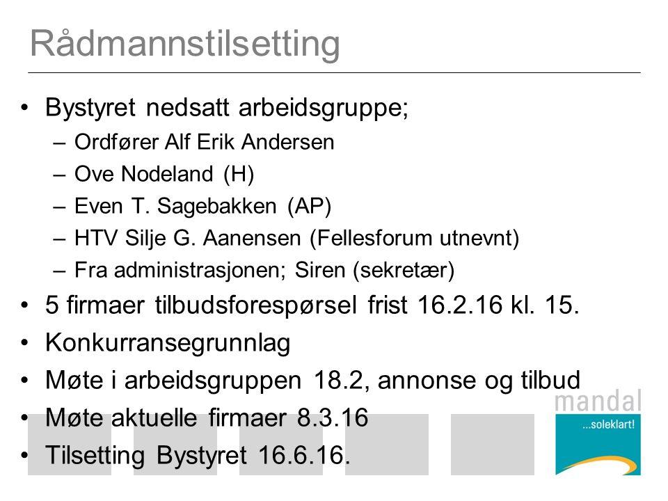 Rådmannstilsetting Bystyret nedsatt arbeidsgruppe; –Ordfører Alf Erik Andersen –Ove Nodeland (H) –Even T.