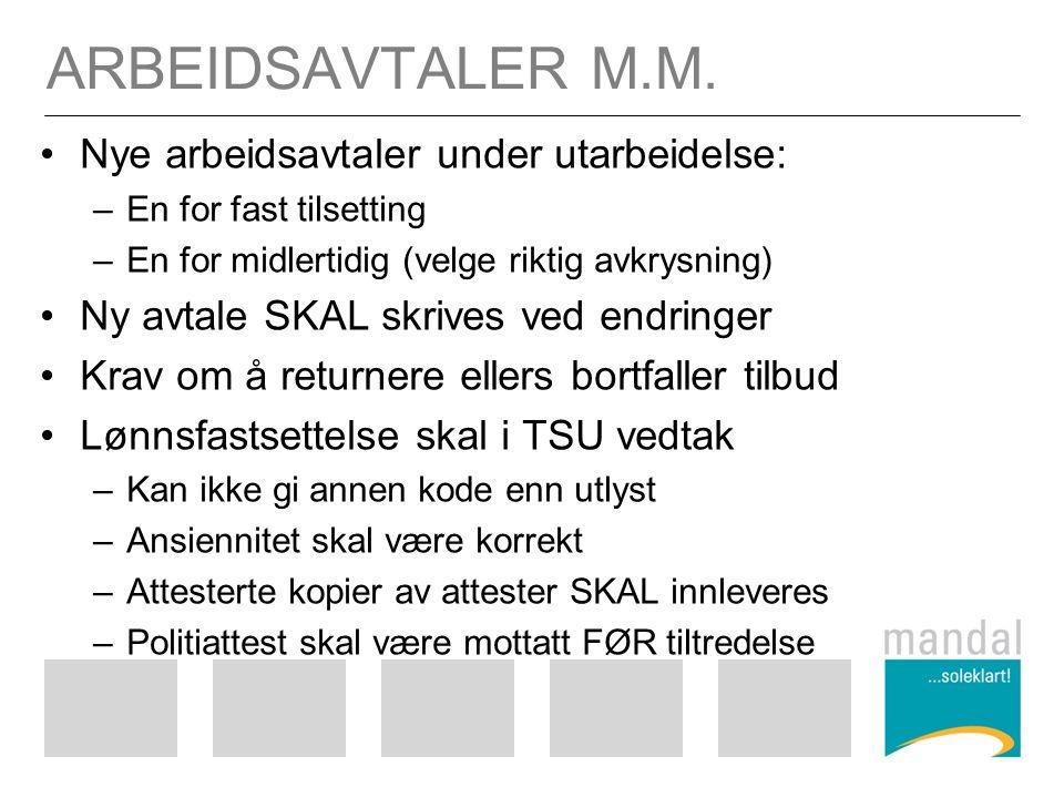 ARBEIDSAVTALER M.M.