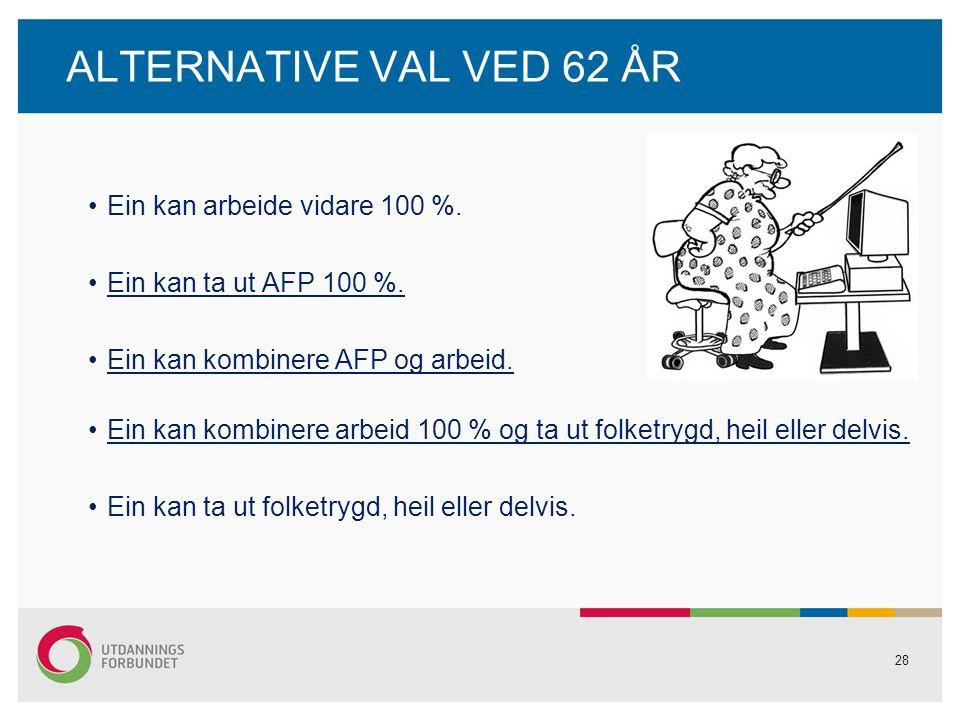 28 ALTERNATIVE VAL VED 62 ÅR Ein kan arbeide vidare 100 %.