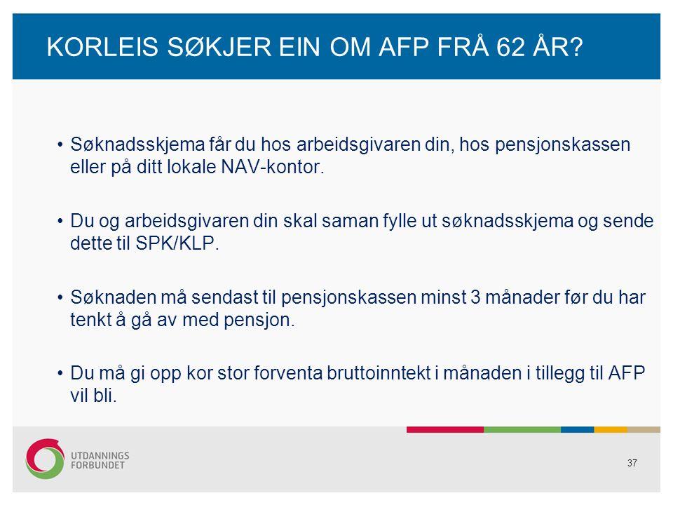 37 KORLEIS SØKJER EIN OM AFP FRÅ 62 ÅR.