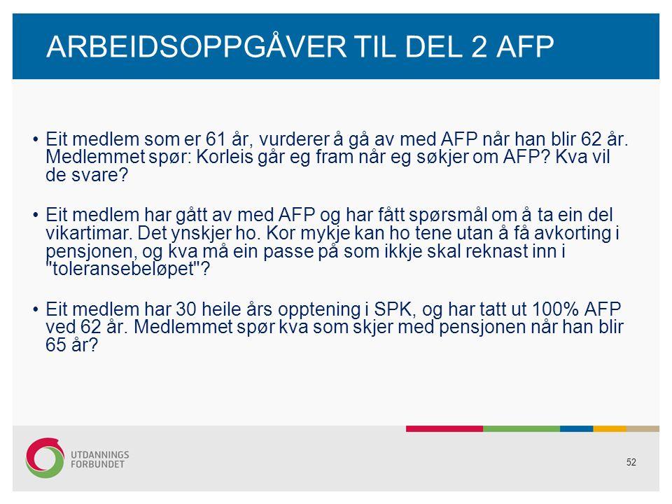 52 ARBEIDSOPPGÅVER TIL DEL 2 AFP Eit medlem som er 61 år, vurderer å gå av med AFP når han blir 62 år.