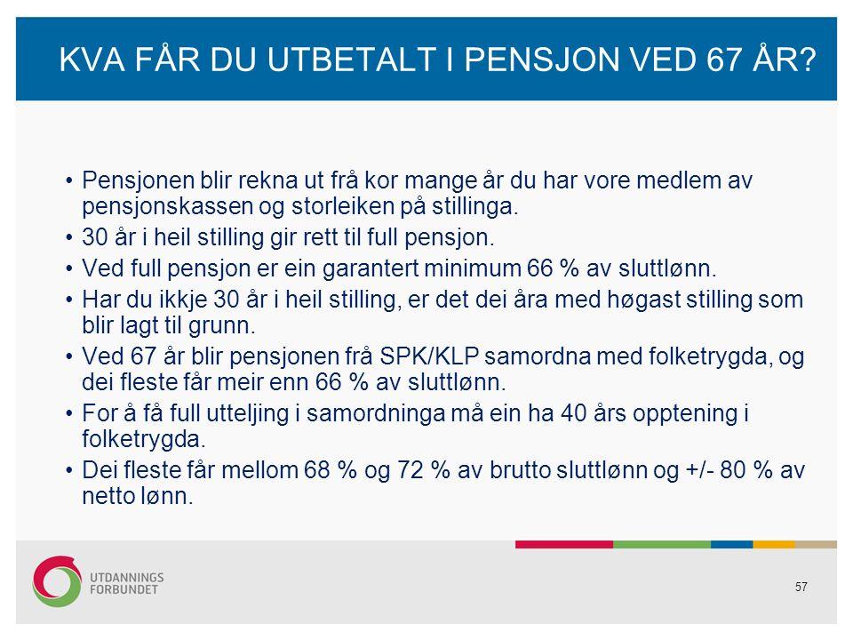 57 KVA FÅR DU UTBETALT I PENSJON VED 67 ÅR.