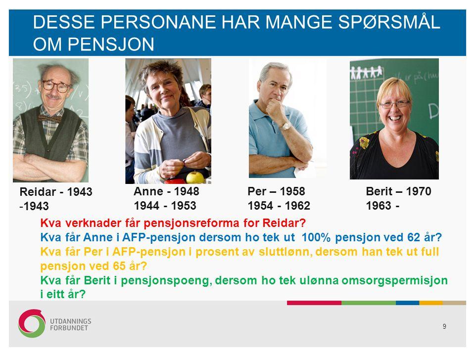 LEVEALDERSJUSTERING OG FORHOLDSTAL FORHOLDSTAL Gammal opptening, levealdersjustert årleg yting Eksempel: Anne ved 67 år: 300 000 kr: 1,025 = 292 700 kr ---- ----- 62 år: 300 000 kr : 1,316 = 228 000 kr DELINGSTAL Ny oppteningsmodell Pensjonsbehaldning: delingstal = årleg yting Eksempel: 4 000 000 kr: 20 = 200 000 kr 4 000 000 kr: 22 = 182 000 kr 20