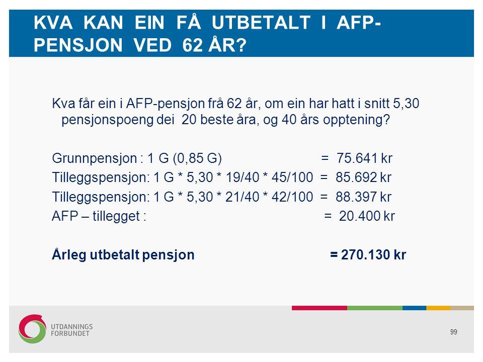 99 KVA KAN EIN FÅ UTBETALT I AFP- PENSJON VED 62 ÅR.