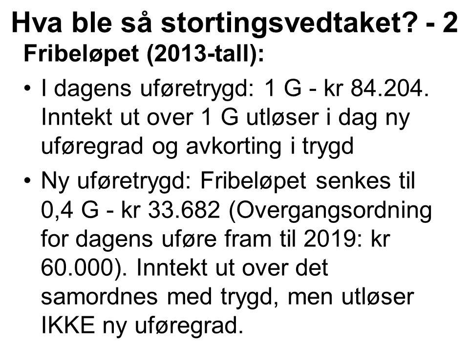 Fribeløpet (2013-tall): I dagens uføretrygd: 1 G - kr 84.204.