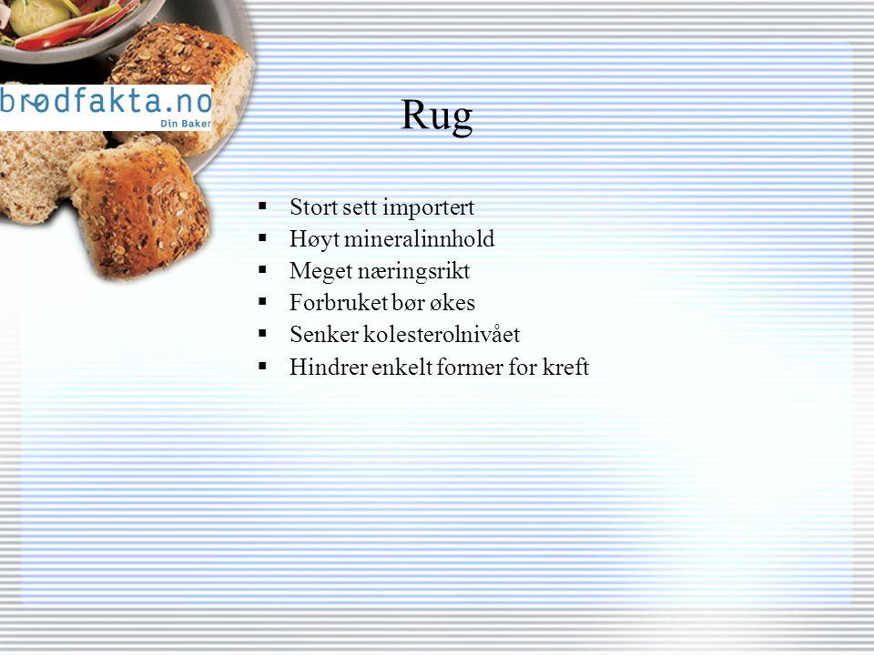 Rug  Stort sett importert  Høyt mineralinnhold  Meget næringsrikt  Forbruket bør økes  Senker kolesterolnivået  Hindrer enkelt former for kreft