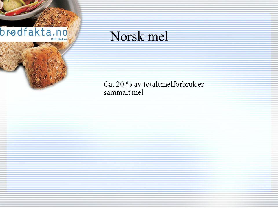 Norsk mel Ca. 20 % av totalt melforbruk er sammalt mel
