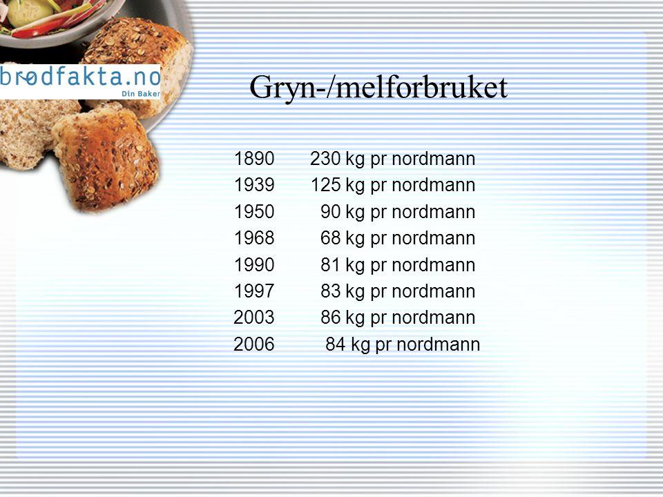 Gryn-/melforbruket 1890 230 kg pr nordmann 1939 125 kg pr nordmann 1950 90 kg pr nordmann 1968 68 kg pr nordmann 1990 81 kg pr nordmann 1997 83 kg pr nordmann 2003 86 kg pr nordmann 2006 84 kg pr nordmann