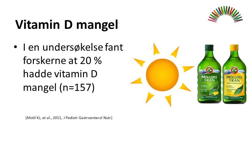 Vitamin D mangel I en undersøkelse fant forskerne at 20 % hadde vitamin D mangel (n=157) (Motil KJ, et al., 2011, J Pediatr Gastroenterol Nutr)