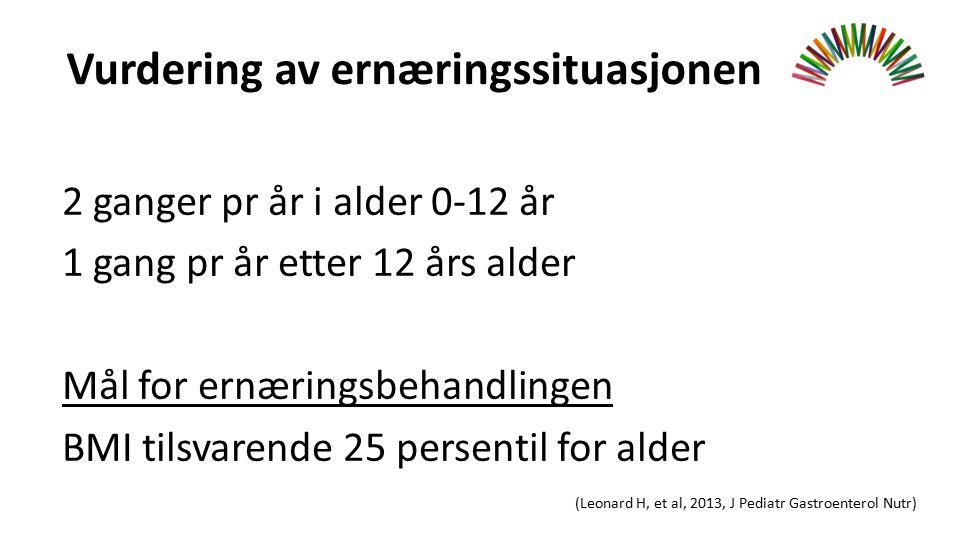 Vurdering av ernæringssituasjonen 2 ganger pr år i alder 0-12 år 1 gang pr år etter 12 års alder Mål for ernæringsbehandlingen BMI tilsvarende 25 persentil for alder (Leonard H, et al, 2013, J Pediatr Gastroenterol Nutr)