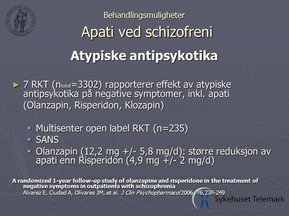 Behandlingsmuligheter Apati ved schizofreni Atypiske antipsykotika ► 7 RKT (n total =3302) rapporterer effekt av atypiske antipsykotika på negative symptomer, inkl.