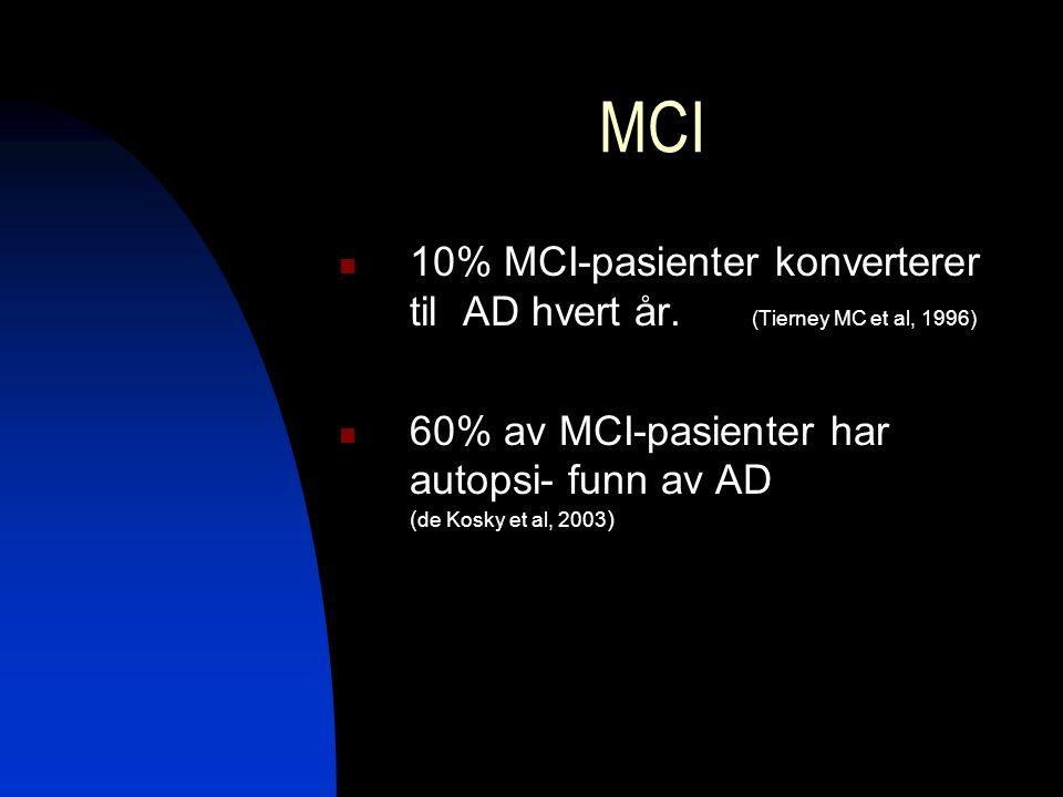 MCI 10% MCI-pasienter konverterer til AD hvert år. (Tierney MC et al, 1996) 60% av MCI-pasienter har autopsi- funn av AD ( de Kosky et al, 2003 )