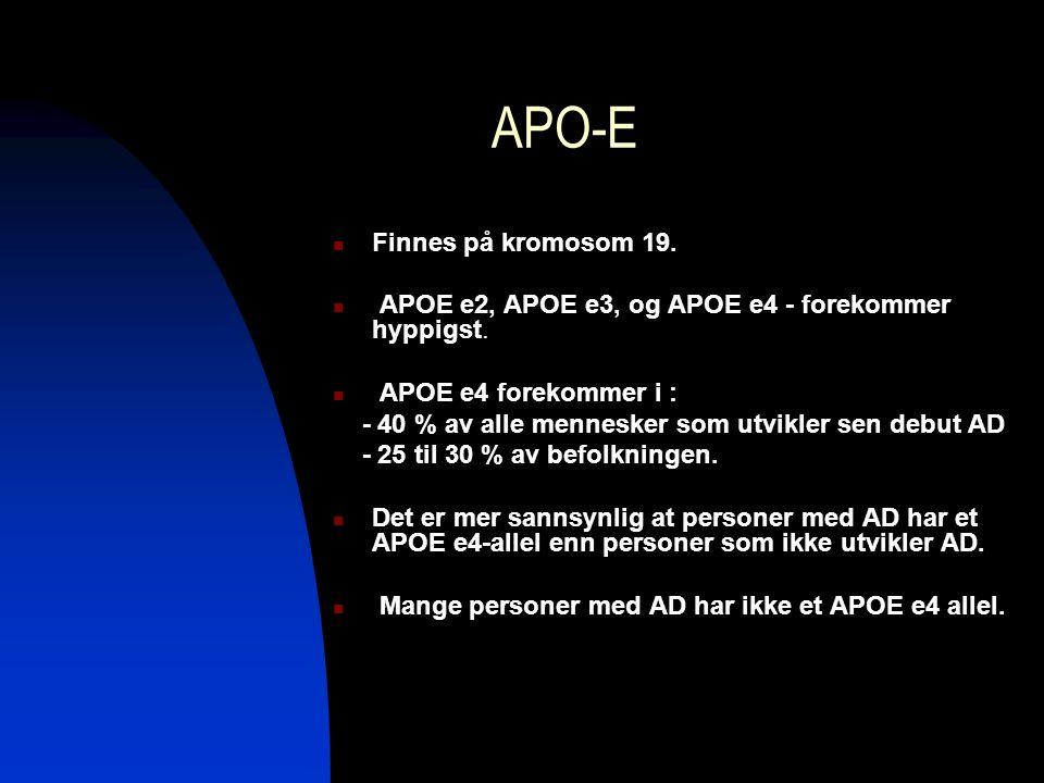 APO-E Finnes på kromosom 19. APOE e2, APOE e3, og APOE e4 - forekommer hyppigst. APOE e4 forekommer i : - 40 % av alle mennesker som utvikler sen debu