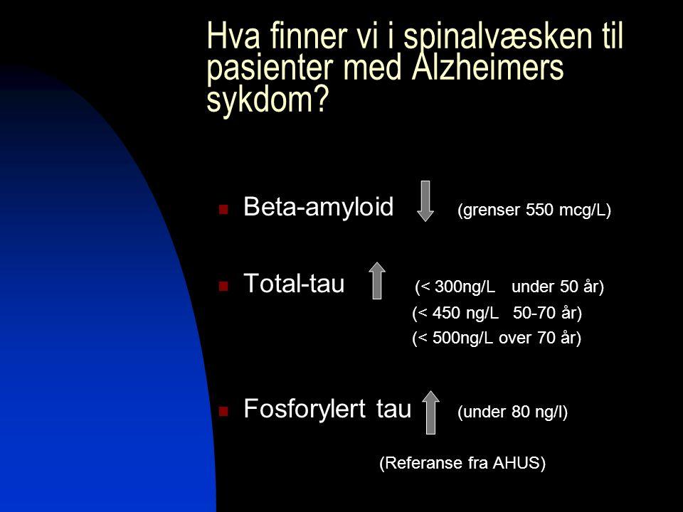 Hva finner vi i spinalvæsken til pasienter med Alzheimers sykdom? Beta-amyloid (grenser 550 mcg/L) Total-tau (< 300ng/L under 50 år) (< 450 ng/L 50-70