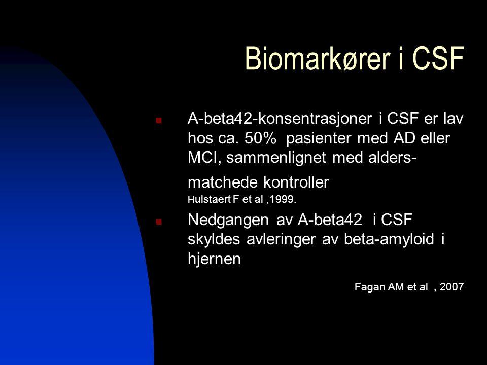 Biomarkører i CSF A-beta42-konsentrasjoner i CSF er lav hos ca.