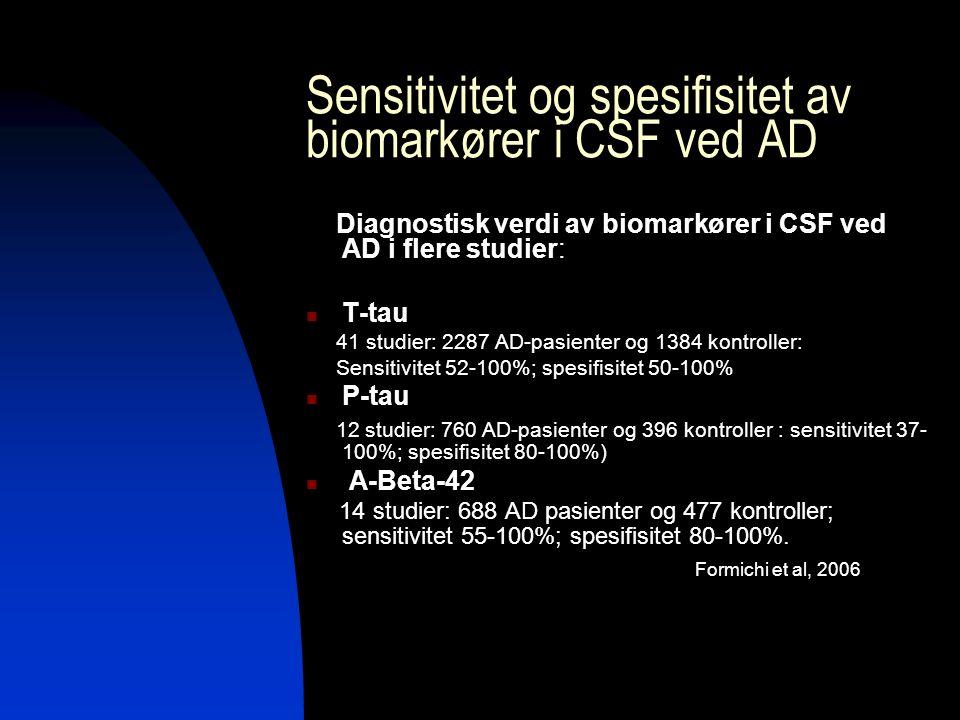 Sensitivitet og spesifisitet av biomarkører i CSF ved AD Diagnostisk verdi av biomarkører i CSF ved AD i flere studier: T-tau 41 studier: 2287 AD-pasienter og 1384 kontroller: Sensitivitet 52-100%; spesifisitet 50-100% P-tau 12 studier: 760 AD-pasienter og 396 kontroller : sensitivitet 37- 100%; spesifisitet 80-100%) A-Beta-42 14 studier: 688 AD pasienter og 477 kontroller; sensitivitet 55-100%; spesifisitet 80-100%.