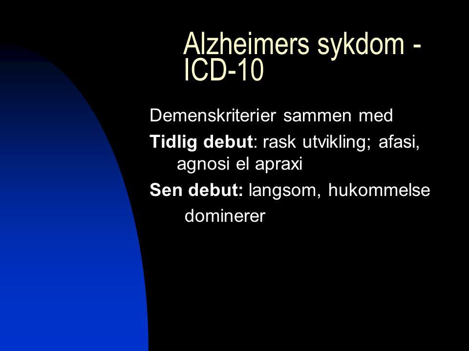 Alzheimers sykdom - ICD-10 Demenskriterier sammen med Tidlig debut: rask utvikling; afasi, agnosi el apraxi Sen debut: langsom, hukommelse dominerer