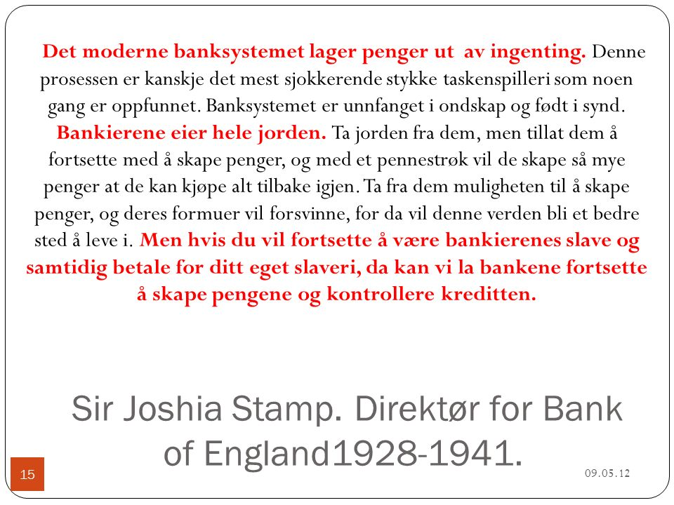 Sir Joshia Stamp. Direktør for Bank of England1928-1941.