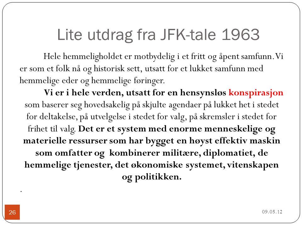 Lite utdrag fra JFK-tale 1963 09.05.12 26 Hele hemmeligholdet er motbydelig i et fritt og åpent samfunn.