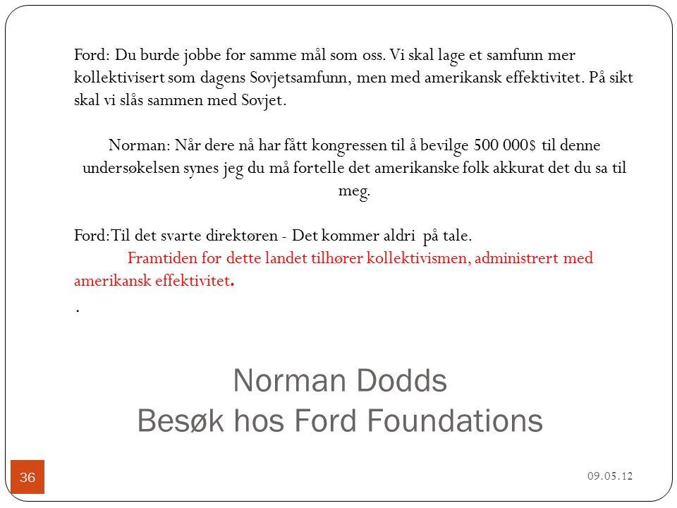 Norman Dodds Besøk hos Ford Foundations 09.05.12 36 Ford: Du burde jobbe for samme mål som oss.