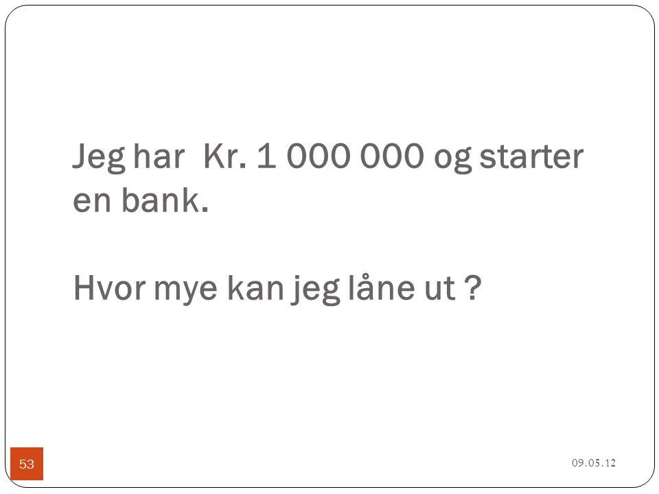 Jeg har Kr. 1 000 000 og starter en bank. Hvor mye kan jeg låne ut 09.05.12 53
