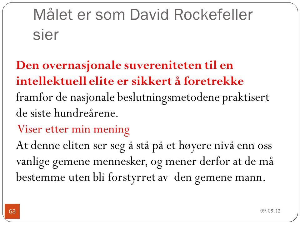 Målet er som David Rockefeller sier 09.05.12 63 Den overnasjonale suvereniteten til en intellektuell elite er sikkert å foretrekke framfor de nasjonale beslutningsmetodene praktisert de siste hundreårene.