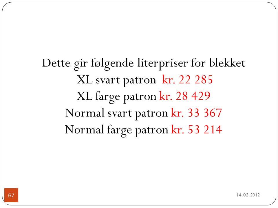 14.02.2012 67 Dette gir følgende literpriser for blekket XL svart patron kr.