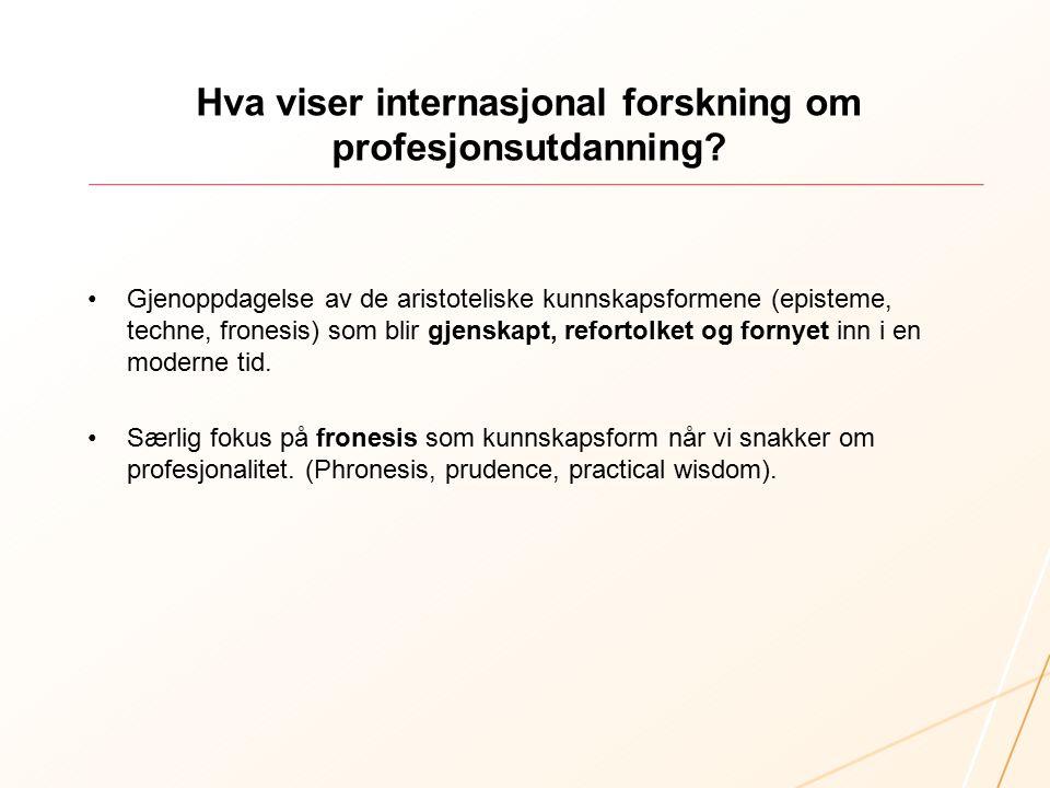 Hva viser internasjonal forskning om profesjonsutdanning.
