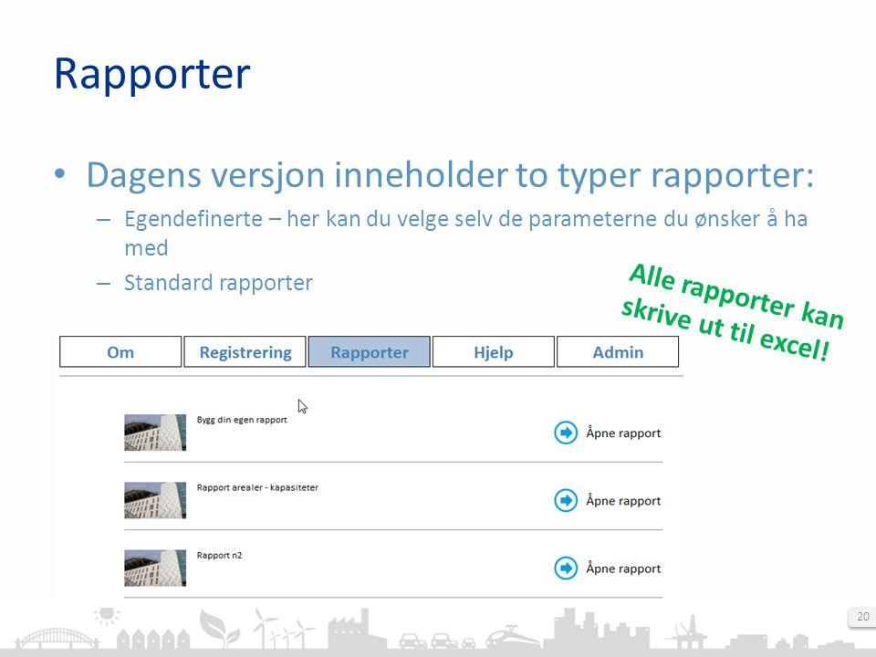 20 Dagens versjon inneholder to typer rapporter: – Egendefinerte – her kan du velge selv de parameterne du ønsker å ha med – Standard rapporter Rapporter Alle rapporter kan skrive ut til excel!