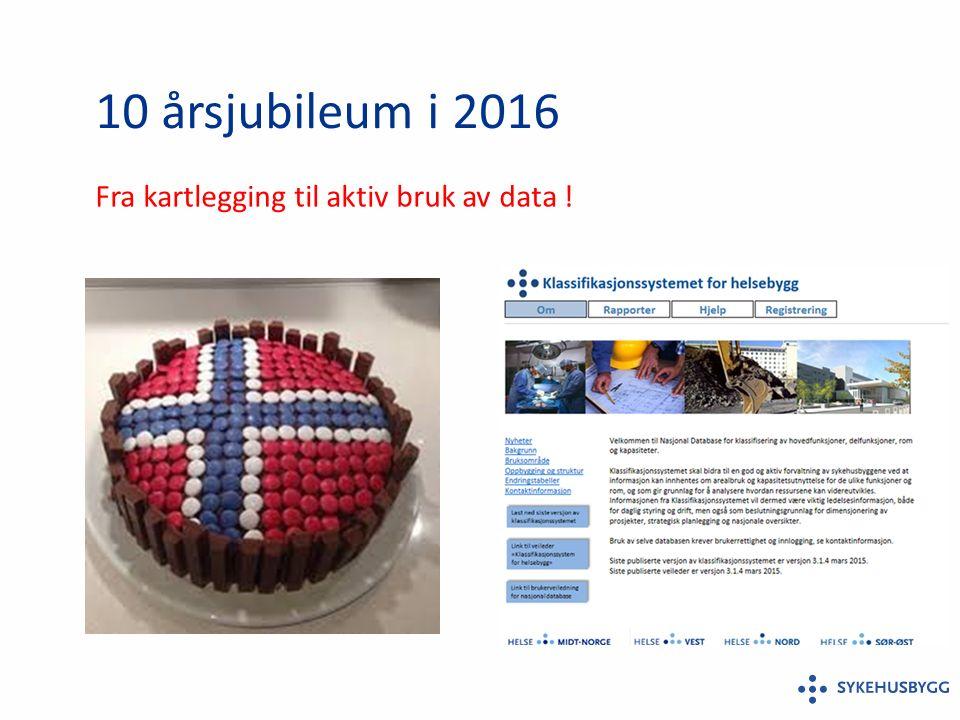 10 årsjubileum i 2016 Fra kartlegging til aktiv bruk av data !