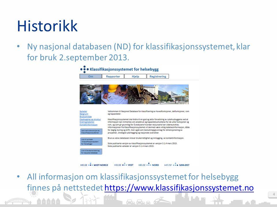 Historikk: Versjoner klassifikasjonssystemet Direktoratet ved Kompetansenettverket for sykehusplanlegging har utarbeidet følgende revisjoner: Endringstabeller – Endring 1.0 til 3.1.2 – Romnavnendring 1.0-3.1.2 – Endring 2.0 til 3.1.2 – Romnavnendring 2.0-3.1.2 – Romnavnendring 3.1.3-3.1.4 Nasjonal Database