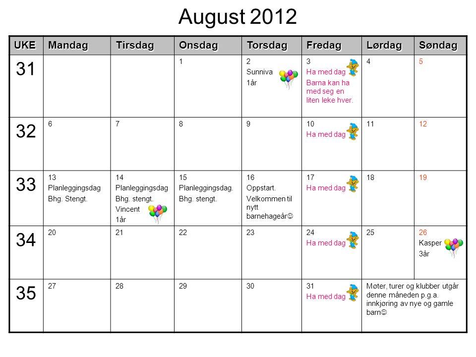 August 2012UKEMandagTirsdagOnsdagTorsdagFredagLørdagSøndag 31 12 Sunniva 1år 3 Ha med dag Barna kan ha med seg en liten leke hver. 45 32 678910 Ha med
