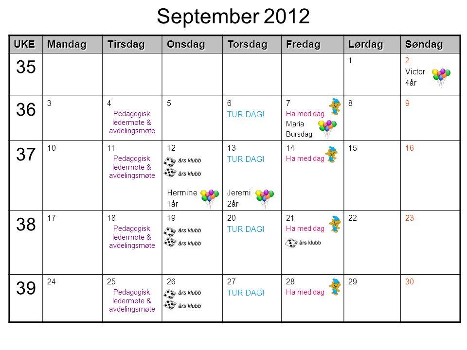 September 2012UKEMandagTirsdagOnsdagTorsdagFredagLørdagSøndag 35 12 Victor 4år 36 34 Pedagogisk ledermøte & avdelingsmøte 56 TUR DAG.