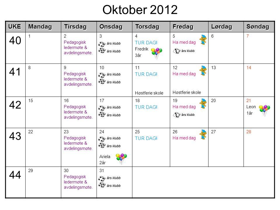 Oktober 2012UKEMandagTirsdagOnsdagTorsdagFredagLørdagSøndag 40 12 Pedagogisk ledermøte & avdelingsmøte.
