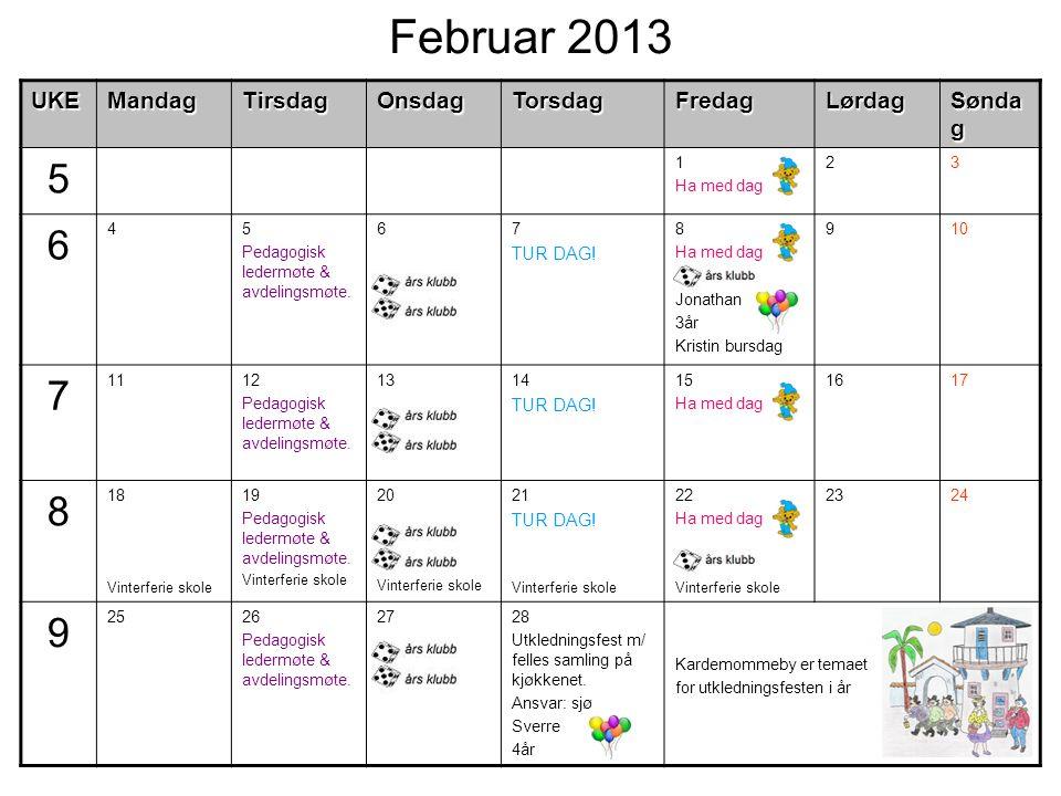 Februar 2013UKEMandagTirsdagOnsdagTorsdagFredagLørdag Sønda g 5 1 Ha med dag 23 6 45 Pedagogisk ledermøte & avdelingsmøte.