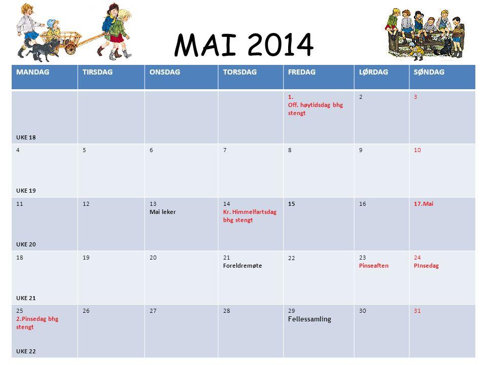 MAI 2014 MANDAGTIRSDAGONSDAGTORSDAGFREDAGLØRDAGSØNDAG UKE 18 1.