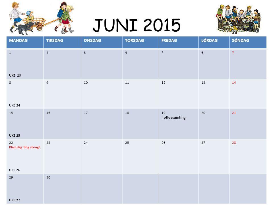 JUNI 2015 MANDAGTIRSDAGONSDAGTORSDAGFREDAGLØRDAGSØNDAG 1 UKE 23 234 5 67 8 UKE 24 910111213 14 15 UKE 25 16171819 Fellessamling 2021 22 Plan.dag bhg s