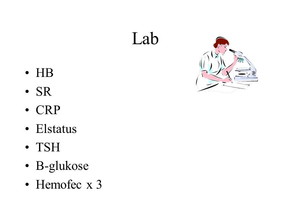 Lab HB SR CRP Elstatus TSH B-glukose Hemofec x 3