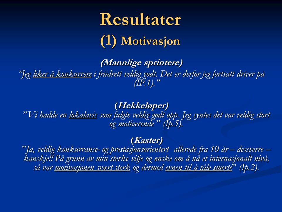 Resultater (1) Motivasjon (Mannlige sprintere) Jeg liker å konkurrere i friidrett veldig godt.