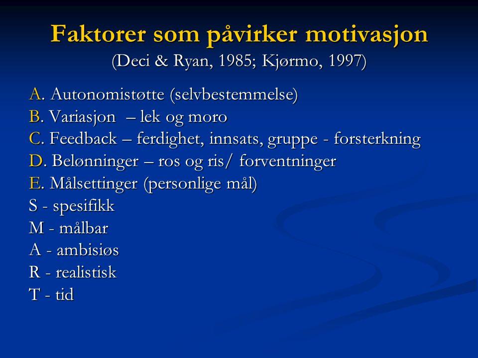 Faktorer som påvirker motivasjon (Deci & Ryan, 1985; Kjørmo, 1997) A. Autonomistøtte (selvbestemmelse) B. Variasjon – lek og moro C. Feedback – ferdig