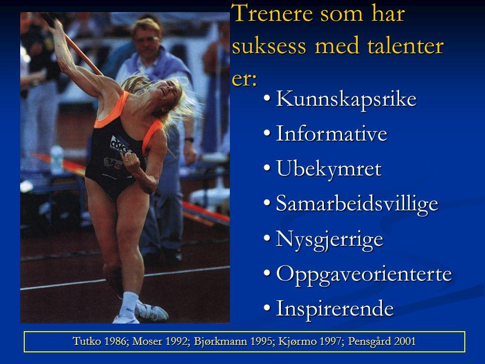 Trenere som har suksess med talenter er: KunnskapsrikeKunnskapsrike InformativeInformative UbekymretUbekymret SamarbeidsvilligeSamarbeidsvillige NysgjerrigeNysgjerrige OppgaveorienterteOppgaveorienterte InspirerendeInspirerende Tutko 1986; Moser 1992; Bjørkmann 1995; Kjørmo 1997; Pensgård 2001
