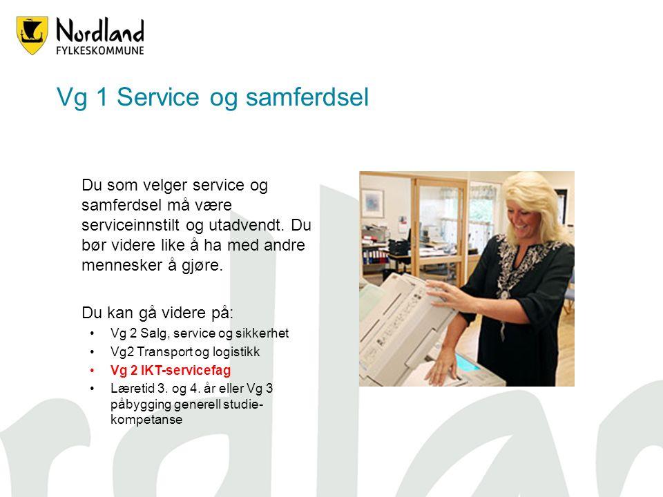Vg 1 Service og samferdsel Du som velger service og samferdsel må være serviceinnstilt og utadvendt.