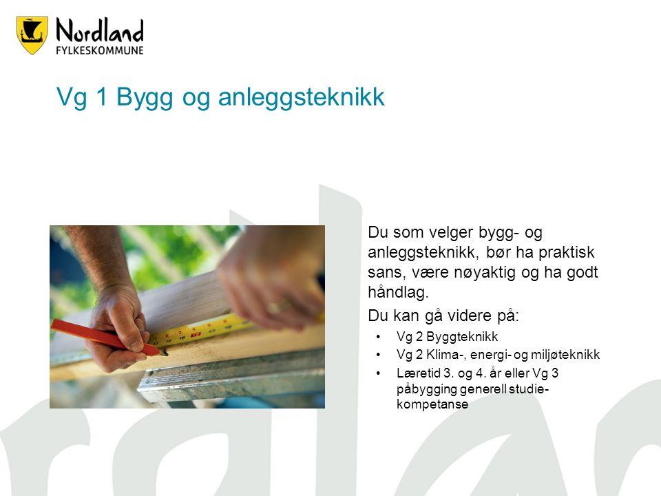 Vg 1 Bygg og anleggsteknikk Du som velger bygg- og anleggsteknikk, bør ha praktisk sans, være nøyaktig og ha godt håndlag.