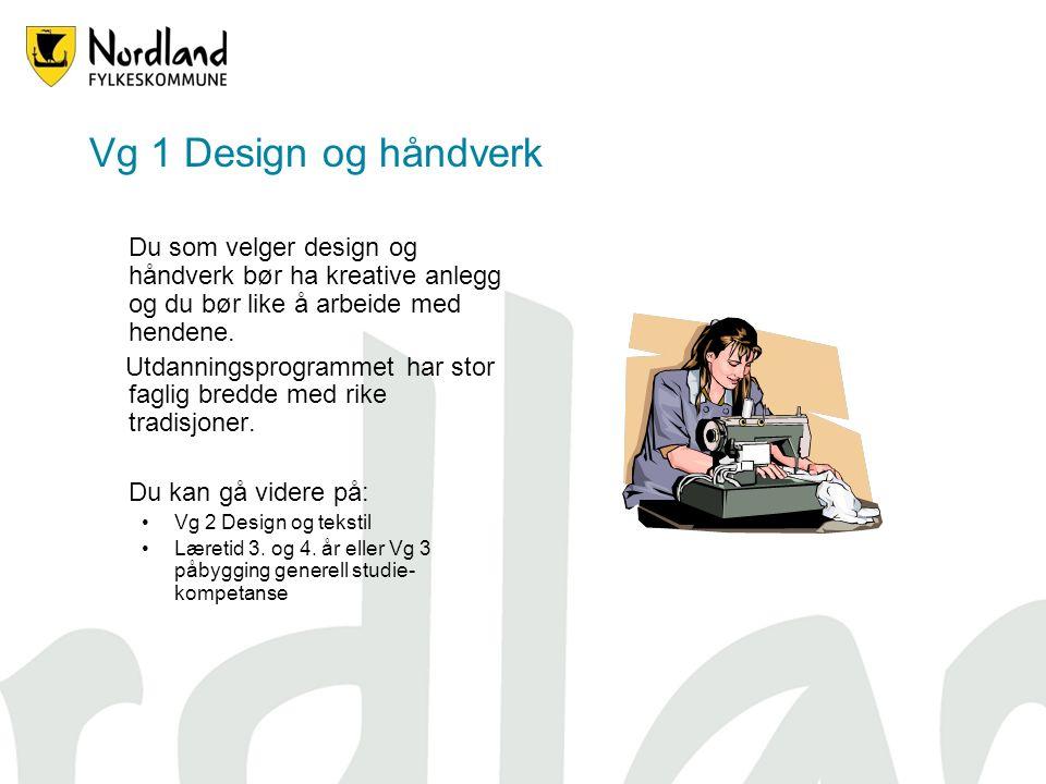 Vg 1 Design og håndverk Du som velger design og håndverk bør ha kreative anlegg og du bør like å arbeide med hendene.
